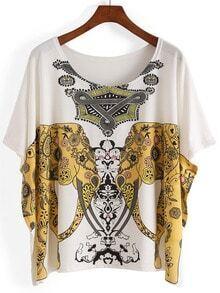 White Batwing Sleeve Gold Elephant Print T-Shirt