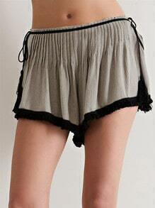 Grey Tie-Waist Ruched Shorts