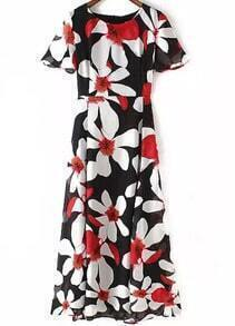 Black Short Sleeve Flower Print Dress