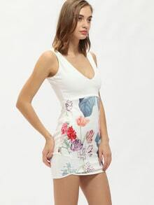 White Sleeveless Deep V Neck Floral Print Dress