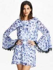 Blue Long Sleeve Vintage Print Dress