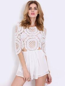 White Half Sleeve Lace Hollow Playsuit