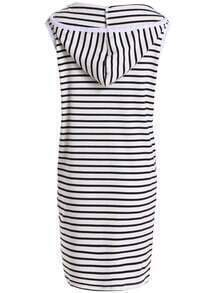 Black White Hooded Sleeveless Striped Dress