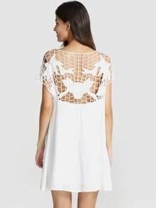 White Short Sleeve Hollow Shift Dress