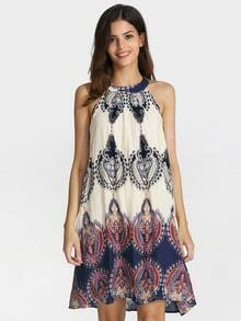 White Sleeveless Halter Tribal Print Dress