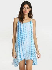 Blue Spaghetti Strap Trapeze Dress