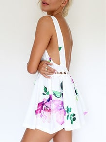 White Sleeveless Backless Floral Print Dress