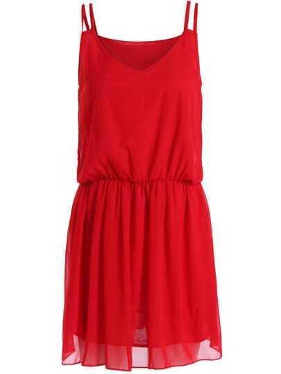 Red Spaghetti Strap Slim Chiffon Dress