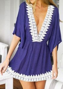 Blue Deep V Neck Lace Loose Dress