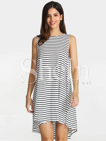 White Black House Sleeveless Striped Dress
