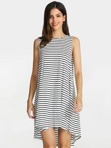White Black House Sleeveless Striped Dress
