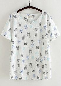 White V Neck Owl Print Loose T-Shirt