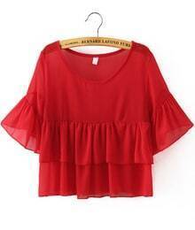 Red Batwing Sleeve Ruffle Crop Blouse