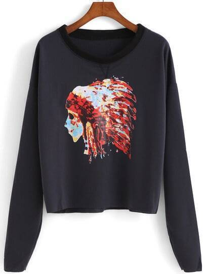 Black Indiana Skull Print Loose Sweatshirt