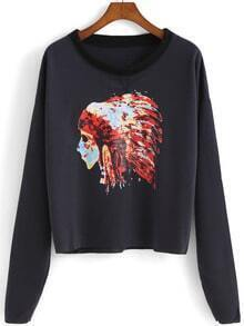 Black Indiana Skull Print Loose Sweatshirt