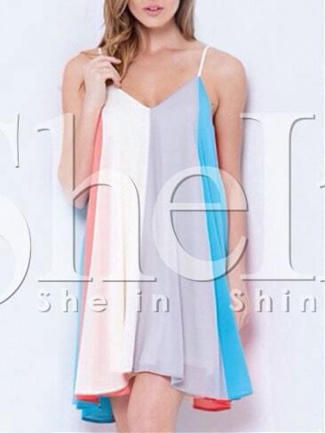 White Blue Camisole Spaghetti Strap Color Block Dress