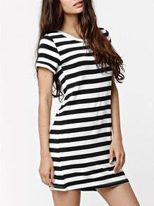 Black White Short Sleeve Striped T-Shirt Dress