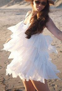 White Spaghetti Strap Cascading Ruffle Dress