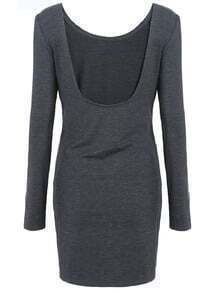 Dark Grey Long Sleeve Ruched Wrap Bodycon Dress