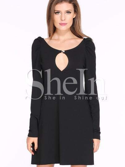 Black Long Sleeve Keyhole Basic Dress