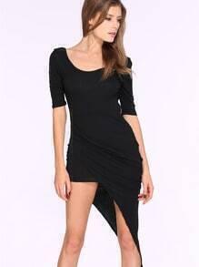 Black Half Sleeve Asymmetric Backless Dress