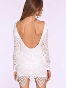 White Long Sleeve Hollow Lace Backless Dress