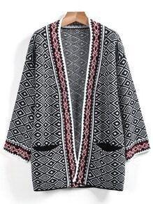 Grey Long Sleeve Geometric Cardigan Sweater