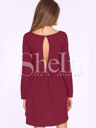 Vestito drappeggiato a lunghe maniche-rosso di vino immagini