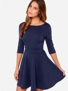 Navy Half Sleeve Pleated Dress