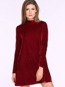 Wine Red Long Sleeve Backless Dress