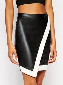 Black White PU Leather Asymmetric Skirt