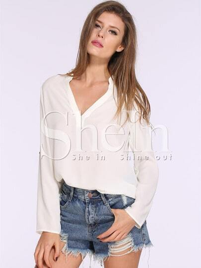 Apricot Long Sleeve High Low Blouse