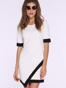 White Short Sleeve Asymmetric Bodycon Dress