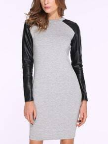 Grey Contrast PU Leather Long Sleeve Dress