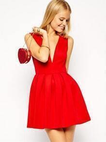 Red Sleeveless V Neck Flared Dress
