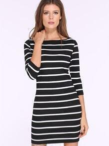 Black White Striped Bodycon Dress