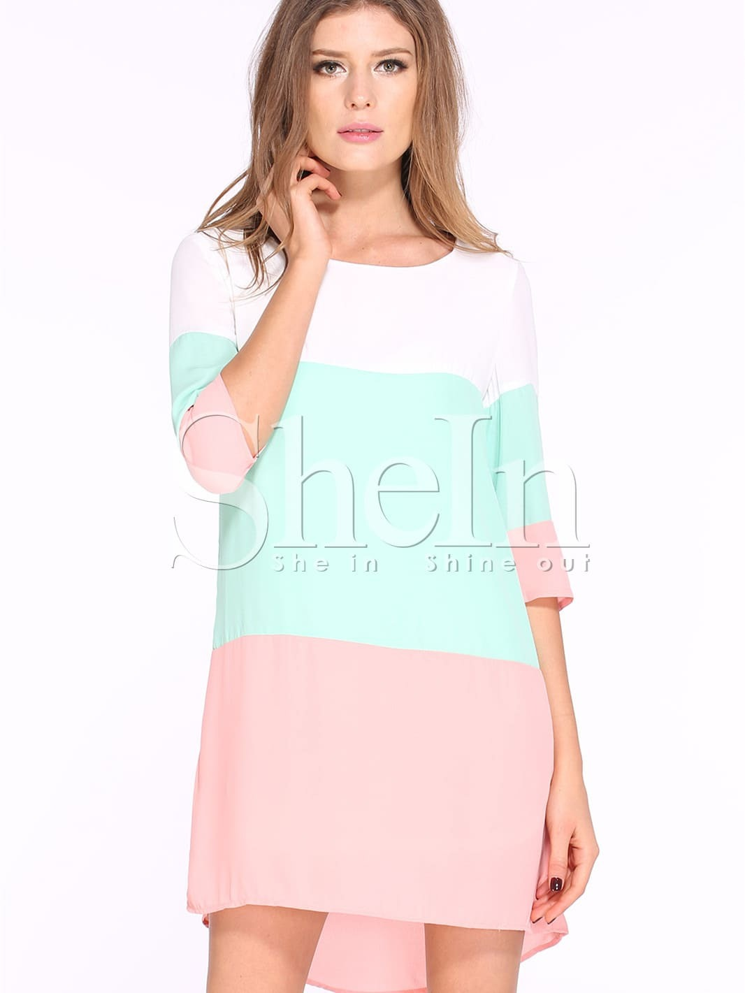 Color Block Dresses Black And White White Green Pink Color Block