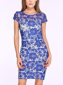 Blue Cap Sleeve Crochet Lace Dress
