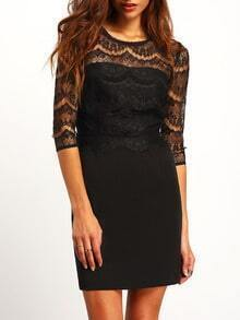 Black Contrast Hollow Lace Bodycon Dress