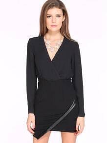 Black Long Sleeve V Neck Split Dress