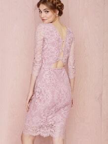 Purple Long Sleeve Keyhole Back Lace Dress