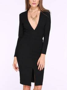 Black Long Sleeve V Neck Split Front Dress