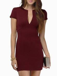 Wine Red Overalls Short Sleeve V Neck Bodycon Dress
