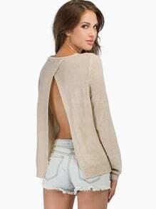 Beige Long Sleeve Split Back Sweater
