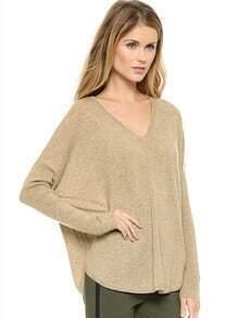 Khaki Batwing Sleeve Loose Sweater
