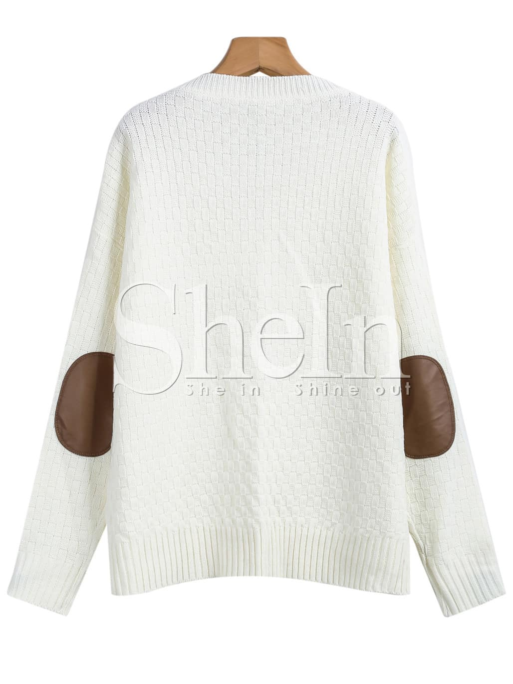White Long Sleeve Elbow Patch Cable Knit Sweater -SheIn(Sheinside)