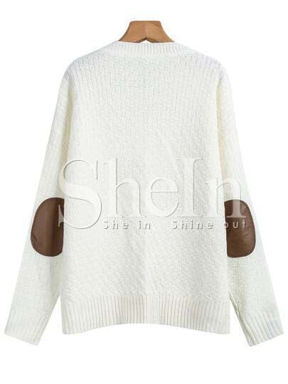 White Long Sleeve Elbow Patch Cable Knit Sweater