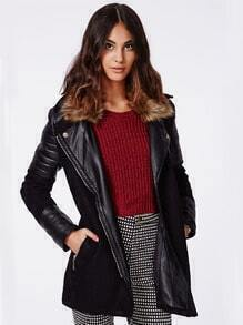 Black Faux Fur Lapel Contrast PU Leather Coat