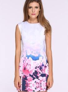 White Bleached Sleeveless Floral Print Dress