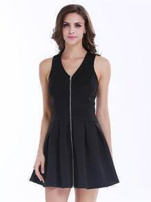 Black Sleeveless V Neck Zip Pleated Dress